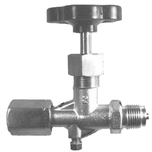 Pressure gauge valve with spansok and venting screw