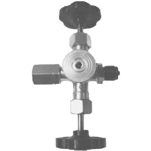 Brass double pressure gauge valve PN 250